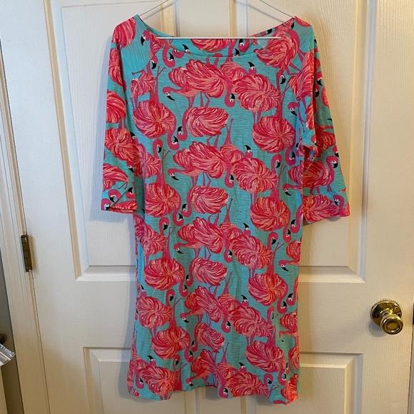 Lily Pulitzer Flamingo 3/4 sleeve dress